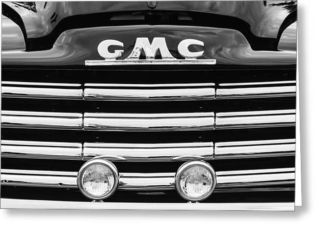 Gmc Greeting Cards - 1952 GMC Suburban Grille Emblem Greeting Card by Jill Reger