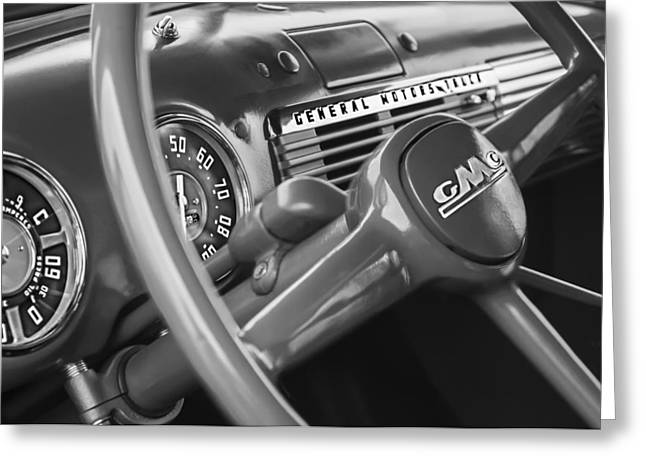 General Motors Company Greeting Cards - 1952 GMC Suburban Steering Wheel Emblem Greeting Card by Jill Reger