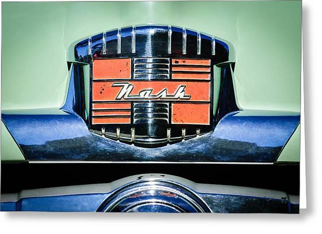 Wagon Greeting Cards - 1952 Nash Rambler Greenbrier Station Wagon Emblem Greeting Card by Jill Reger