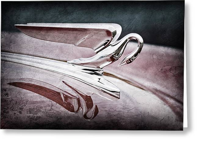 Collector Hood Ornament Greeting Cards - 1952 Packard 400 Hood Ornament Greeting Card by Jill Reger