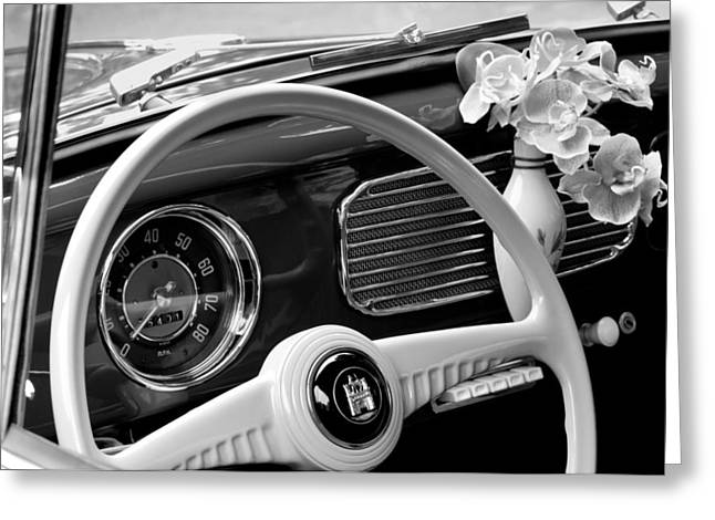 Steering Greeting Cards - 1952 Volkswagen VW Bug Steering Wheel Greeting Card by Jill Reger