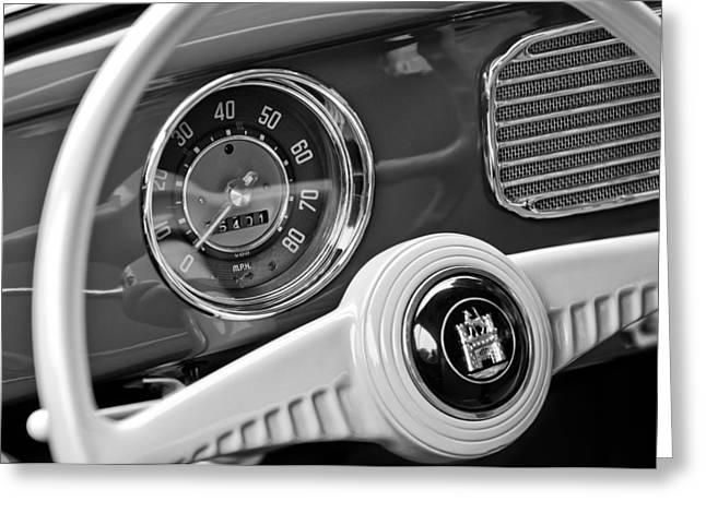 1952 Volkswagen Vw Steering Wheel Emblem Greeting Card by Jill Reger