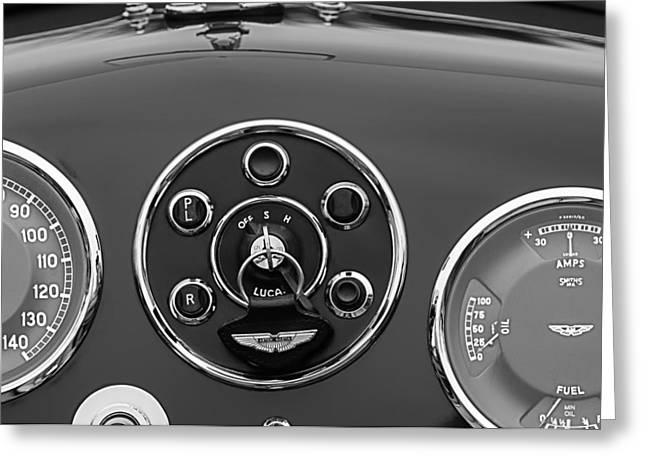 D.w Greeting Cards - 1953 Aston Martin DB2-4 Bertone Roadster Instrument Panel Greeting Card by Jill Reger
