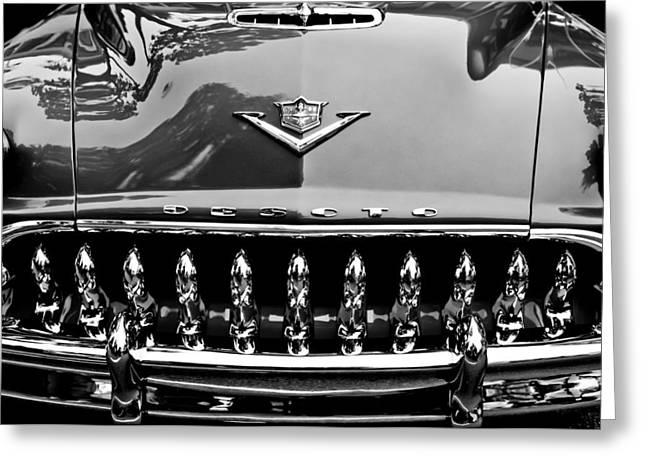 Desoto Car Greeting Cards - 1953 DeSoto Firedome Convertible Grille Emblem Greeting Card by Jill Reger