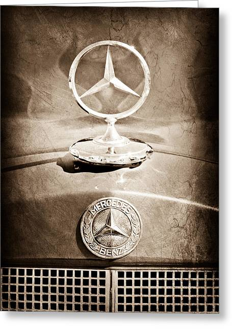 Vintage Hood Ornaments Greeting Cards - 1953 Mercedes Benz Hood Ornament Greeting Card by Jill Reger