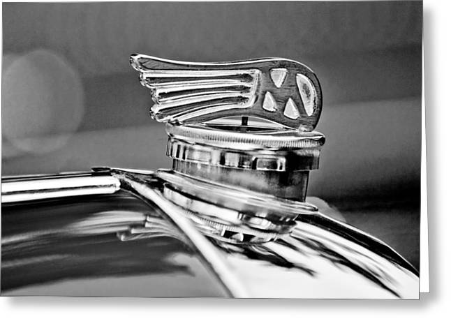 1953 Morgan Plus 4 Le Mans Tt Special Greeting Cards - 1953 Morgan plus 4 Le Mans TT Special Hood Ornament Greeting Card by Jill Reger
