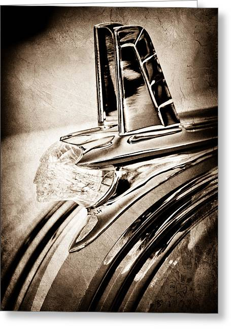 Collector Hood Ornament Greeting Cards - 1953 Pontiac Hood Ornament Greeting Card by Jill Reger