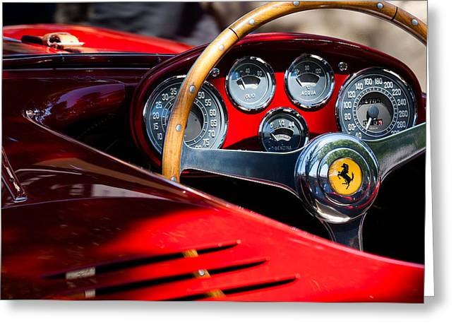 Steering Greeting Cards - 1954 Ferrari 500 Mondial Spyder Steering Wheel Emblem Greeting Card by Jill Reger