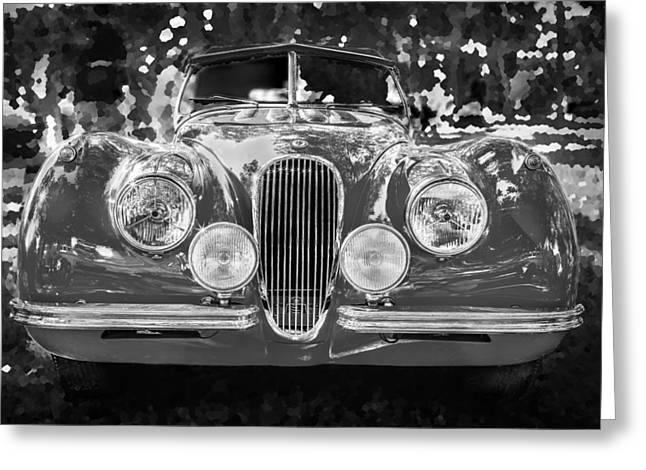 Gran Jaguar Greeting Cards - 1954 Jaguar XK 120 SE OTS BW Greeting Card by Rich Franco