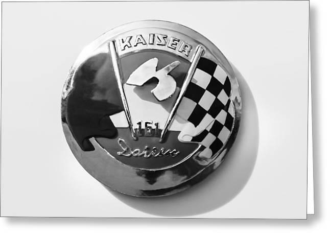 Kaiser Greeting Cards - 1954 Kaiser-Darrin Roadster Emblem Greeting Card by Jill Reger