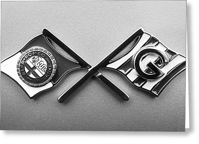 D.w Greeting Cards - 1955 Alfa Romeo 1900 CSS Ghia Aigle Cabriolet Emblem Greeting Card by Jill Reger