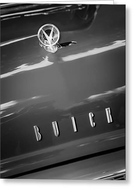 1955 Buick Greeting Cards - 1955 Buick Roadmaster Hood Ornament - Emblem Greeting Card by Jill Reger