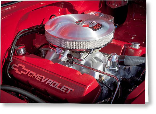 1955 Greeting Cards - 1955 Chevrolet 210 Engine Greeting Card by Jill Reger