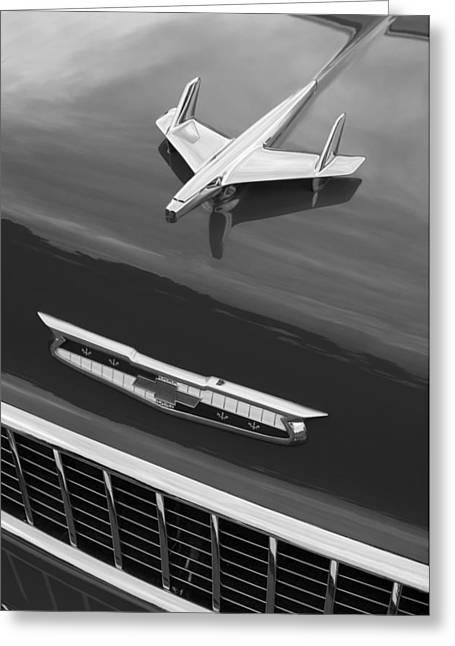 Restos Greeting Cards - 1955 Chevrolet 210 Resto Mod Hood Ornament - Emblem Greeting Card by Jill Reger