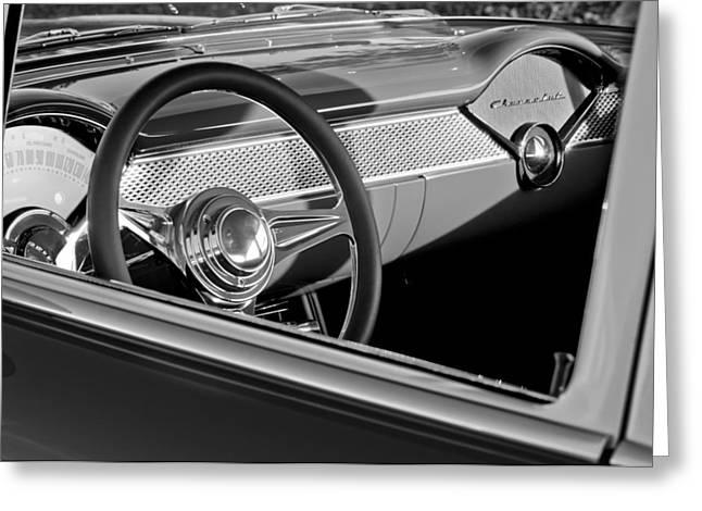1955 Greeting Cards - 1955 Chevrolet 210 Steering Wheel Greeting Card by Jill Reger
