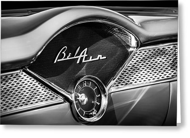 1955 Greeting Cards - 1955 Chevrolet Belair Dashboard Emblem Clock Greeting Card by Jill Reger