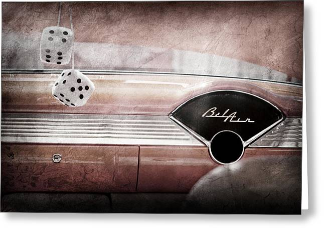 Dashboard Greeting Cards - 1955 Chevrolet Belair Dashboard Emblem Greeting Card by Jill Reger