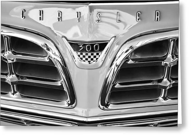 1955 Greeting Cards - 1955 Chrysler C-300 Grille Emblem Greeting Card by Jill Reger