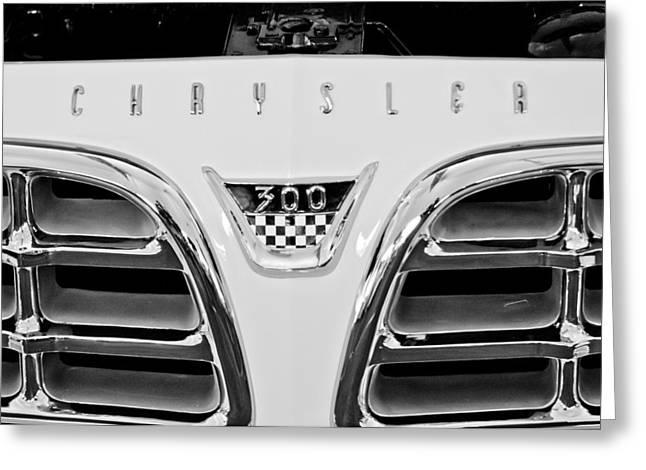 1955 Greeting Cards - 1955 Chrysler C300 Grille Emblem Greeting Card by Jill Reger