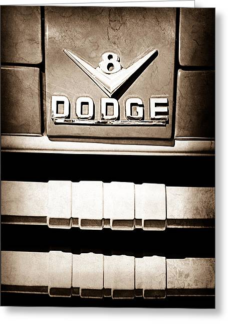 Classic Pickup Greeting Cards - 1955 Dodge C-3-B8 Pickup Truck Emblem Greeting Card by Jill Reger