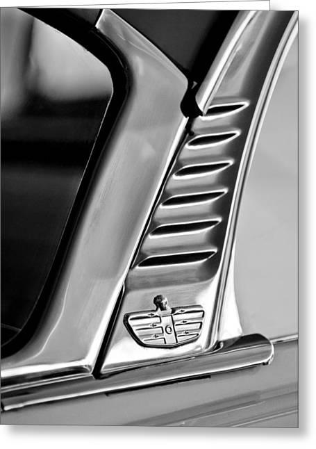 1955 Greeting Cards - 1955 Dodge Custom Royal Lancer 2 Door Hardtop Emblem Greeting Card by Jill Reger