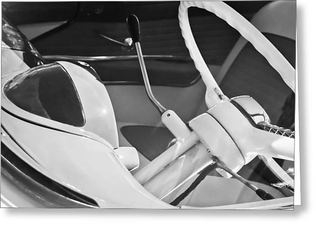 1955 Greeting Cards - 1955 Ford Crown Victoria Steering Wheel Greeting Card by Jill Reger