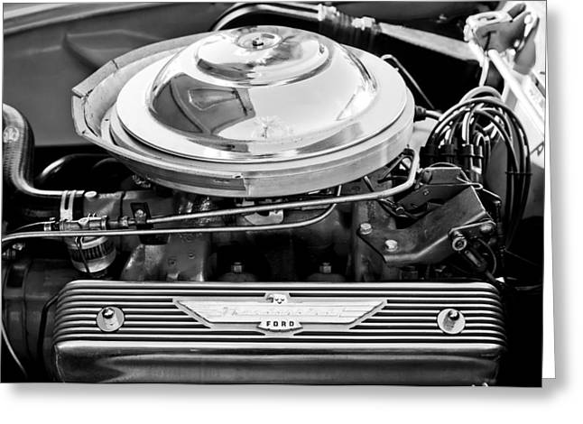 1955 Greeting Cards - 1955 Ford Thunderbird Engine Greeting Card by Jill Reger