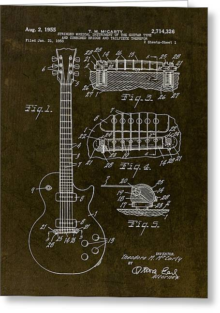 Les Drawings Greeting Cards - 1955 Gibson Les Paul Patent Drawing Greeting Card by Gary Bodnar