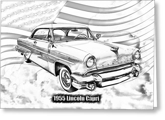 1955 Greeting Cards - 1955 Lincoln Capri Luxury Car Greeting Card by Keith Webber Jr
