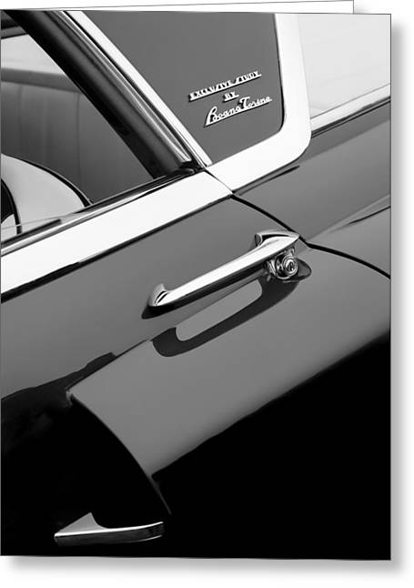 1955 Greeting Cards - 1955 Lincoln Indianapolis Boano Coupe Side Emblem -0355bw Greeting Card by Jill Reger