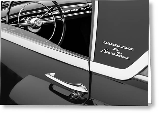 1955 Greeting Cards - 1955 Lincoln Indianapolis Boano Coupe Side Emblem - Steering Wheel -0358bw Greeting Card by Jill Reger