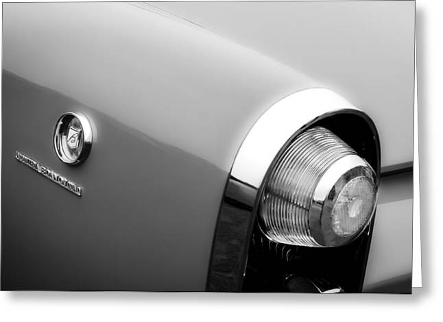 1955 Greeting Cards - 1955 Lincoln Indianapolis Boano Coupe Taillight Emblem -0388bw Greeting Card by Jill Reger