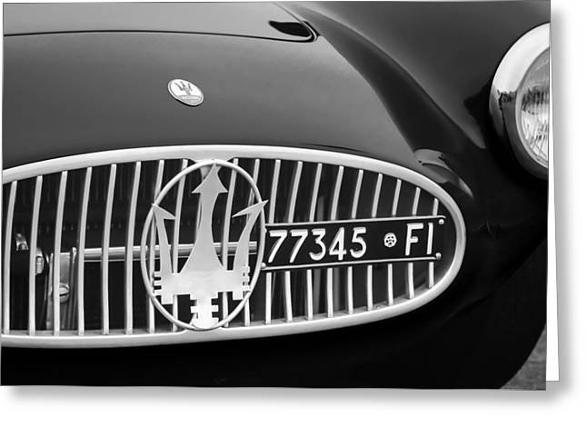 1955 Greeting Cards - 1955 Maserati A6GCS Roadster Grille Emblem Greeting Card by Jill Reger