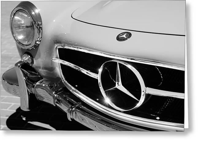 Gullwing Greeting Cards - 1955 Mercedes-Benz 300SL GullWing Grille Emblems Greeting Card by Jill Reger