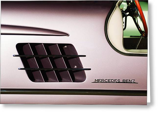 Gullwing Greeting Cards - 1955 Mercedes-Benz Gullwing 300 SL Emblem Greeting Card by Jill Reger