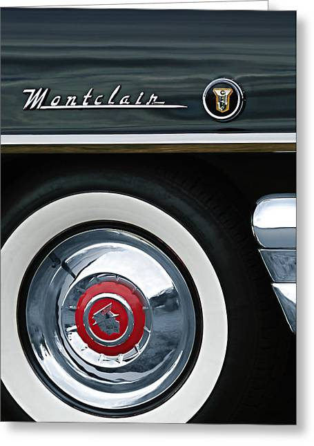 1955 Greeting Cards - 1955 Mercury Montclair Convertible Wheel Emblem Greeting Card by Jill Reger
