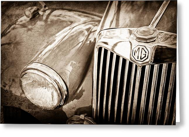 Vintage Mg Greeting Cards - 1955 Mg Tf 1500 Grille Greeting Card by Jill Reger
