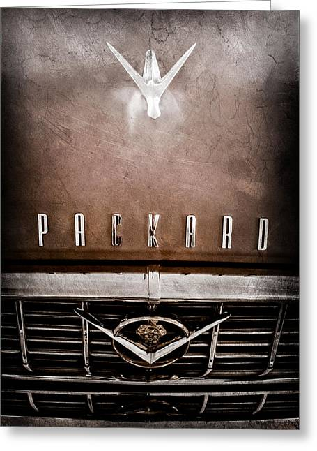 1955 Greeting Cards - 1955 Packard 400 Hood Ornament - Grille Emblem Greeting Card by Jill Reger