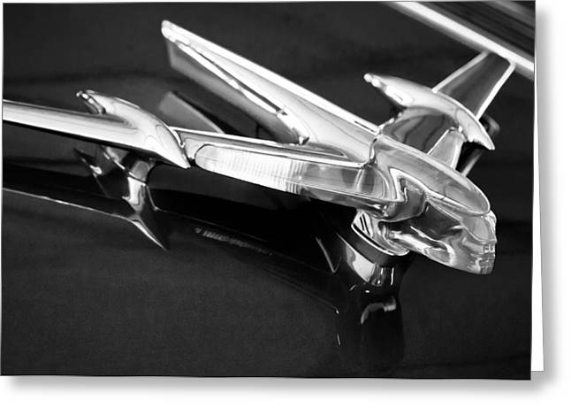 1955 Greeting Cards - 1955 Pontiac Safari Hood Ornament -0876c Greeting Card by Jill Reger
