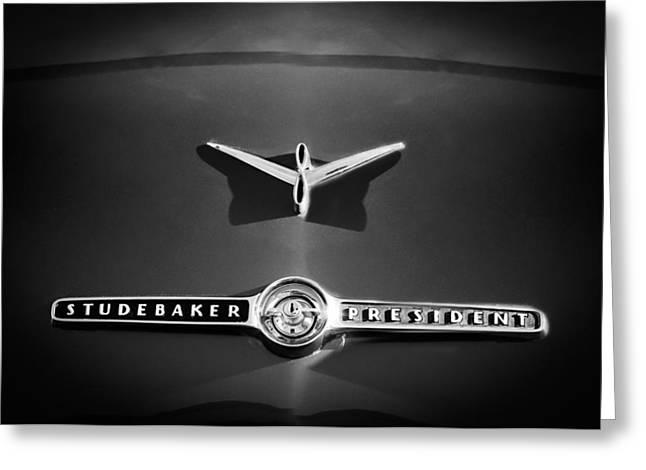 1955 Greeting Cards - 1955 Studebaker President Emblem Greeting Card by Jill Reger