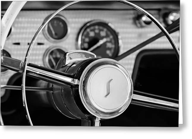 1955 Studebaker President Steering Wheel Emblem Greeting Card by Jill Reger