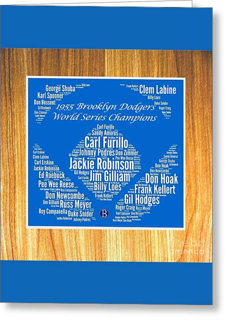 1955 World Series Greeting Cards - 1955 World Series Champion Dodgers Greeting Card by Spencer McKain