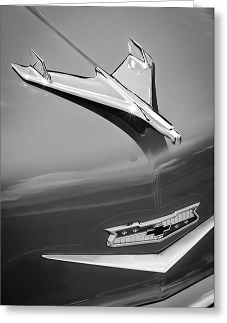 Wagon Greeting Cards - 1956 Chevrolet 210 2-Door Handyman Wagon Hood Ornament - Emblem Greeting Card by Jill Reger