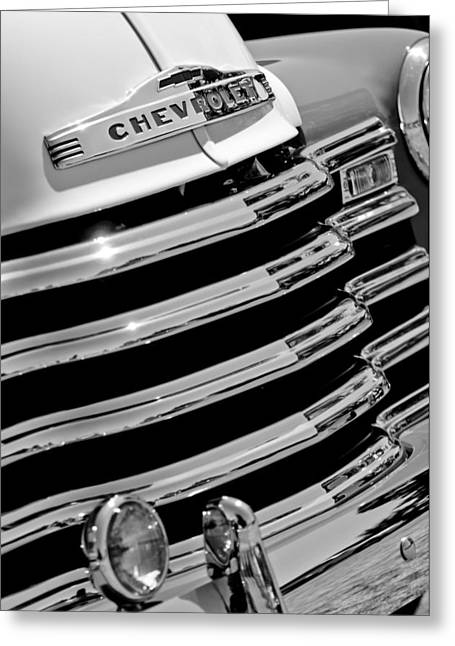 Classic Pickup Greeting Cards - 1956 Chevrolet 3100 Pickup Truck Grille Emblem Greeting Card by Jill Reger