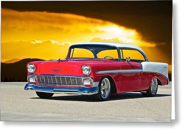 Slam Photographs Greeting Cards - 1956 Chevy Bel Air Greeting Card by Dave Koontz