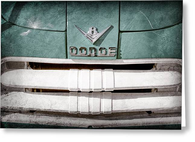 Classic Pickup Greeting Cards - 1956 Dodge Pickup Grille Emblem Greeting Card by Jill Reger