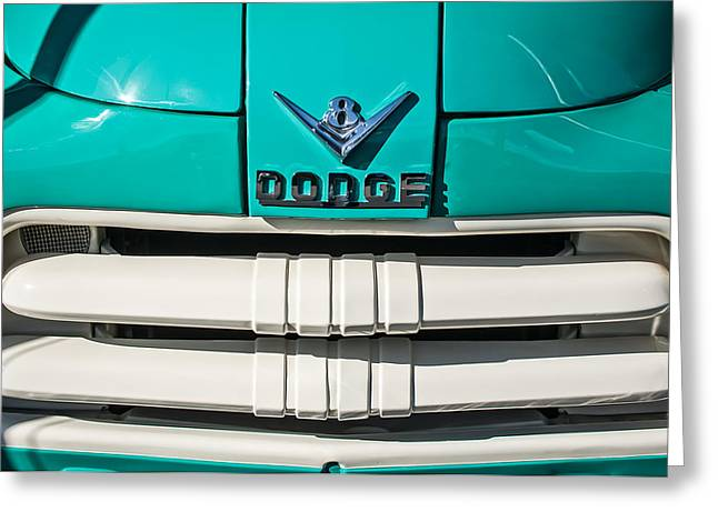 Pickup Truck Greeting Cards - 1956 Dodge Pickup Truck Grille Emblem Greeting Card by Jill Reger