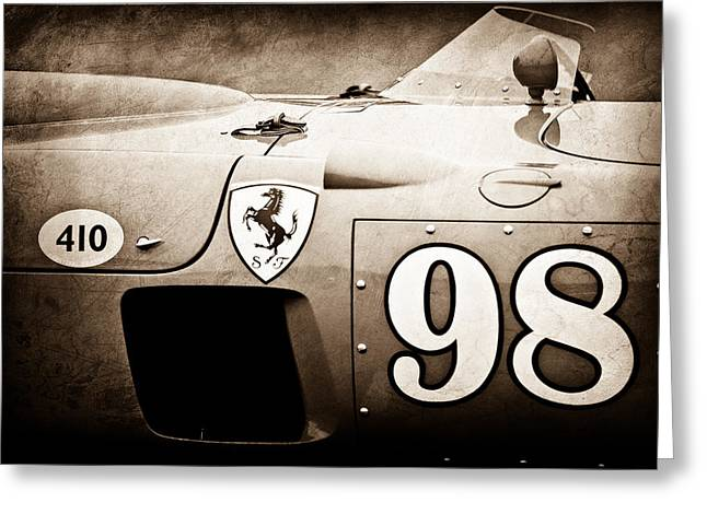 Spyder Greeting Cards - 1956 Ferrari 410 Sport Scaglietti Spyder Greeting Card by Jill Reger