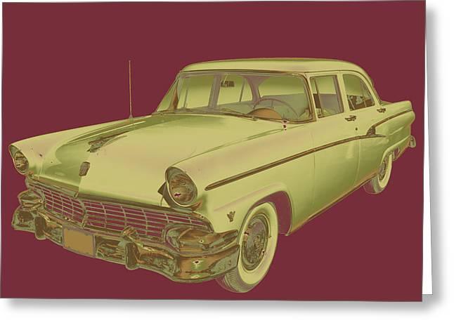 Retro Digital Art Greeting Cards - 1956 Ford Custom Line Antique Car Pop Art Greeting Card by Keith Webber Jr