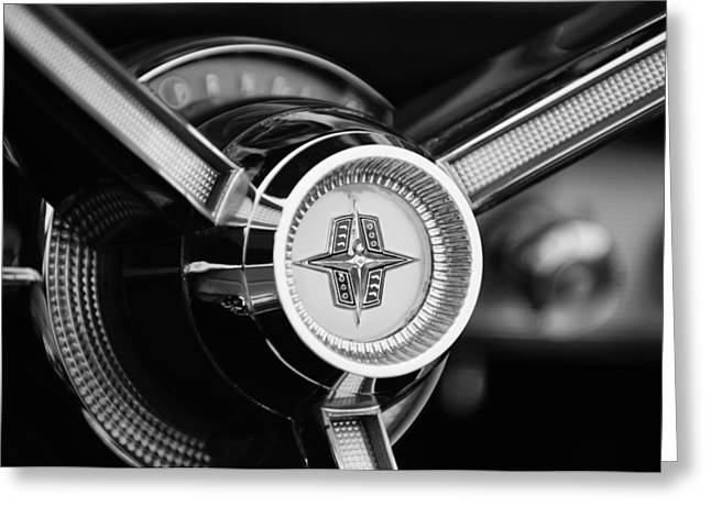 D.w Greeting Cards - 1956 Lincoln Continental Mark II Hess and Eisenhardt Convertible Steering Wheel Emblem Greeting Card by Jill Reger